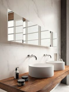 Marble bathroom with recycled timber vanity and white basin. Calacatta marble is formed through a metamorphic process which causes a complete recrysta… - Marble Bathroom Rustic Bathrooms, Modern Bathroom, Small Bathroom, Master Bathroom, Vanity Bathroom, Marble Bathrooms, Bathroom Tapware, Bathroom Accents, Minimal Bathroom