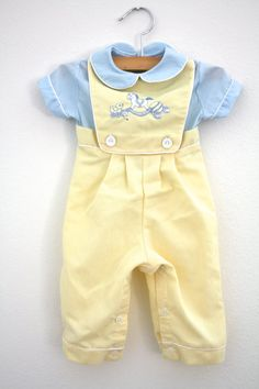 Vintage Baby Boy Rocking Horse Bib Overalls Romper, Yellow And Blue, Newborn