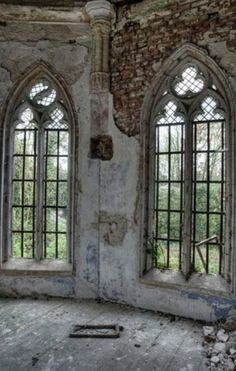 Pretty windows in an old abandoned mansion
