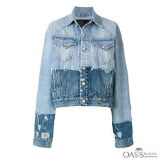 R 13 contrast distressed denim jacket R13 Denim, Cropped Denim Jacket, Ripped Denim, Distressed Denim, Denim Jackets, Outerwear Jackets, Jean Jackets, Denim Ideas, Recycled Denim