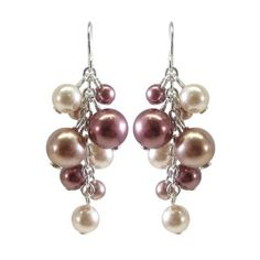 $10 Cream and Grey Simulated #Pearl Cluster #Drop #Earrings
