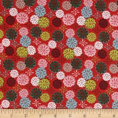 Mouse Camp Corduroy Flowers Red from @fabricdotcom  From Windham Fabrics, this soft 18 wale (number of cords per inch) corduroy is classic, durable and versatile. It is perfect for creating stylish shirts, skirts, dresses, lightweight jackets and children's apparel.  Colors include pink, brown, lime, aqua and white on a tomato background.