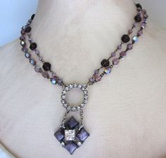 Purple Flower Repurposed Necklace Vintage Glass by jryendesigns, $68.00