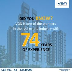 Since 1942, VGN has built its excellent reputation, brick-by-brick. VGN is one of the most respected #builders in #Chennai and is synonymous with quality, expertise and trust. To know more about VGN homes ranging from the affordable to the Luxurious: http://vgn.in    #VGN #DidYouKnow