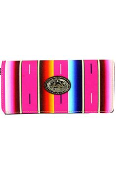 """This tri-fold clutch/wallet has Serape blanket inspired prints Bright summer colors Single removeable strap to convert the wallet in a wristlet Single compartment divided by a medium zippered pocket Pockets on the inside for ID credit cards cash and more A zippered pocket on the back  Dimensions:7.75 x 1.25 x 4""""  Serape Collection Wallet by Montana West. Bags - Wallets & Wristlets South Dakota"""
