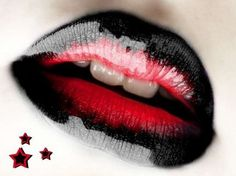 Glossy Black and Red Lips