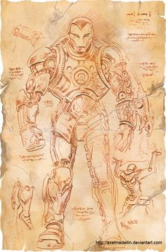 If Leonardo Da Vinci Designed Iron Man's Armor - by comic artist Axel Medellin