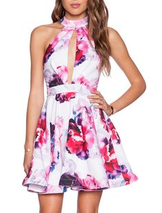White Halter Floral Print Flare Dress 19.99