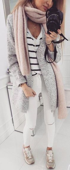 summer outfits Grey Coat   Striped Top   White Ripped Skinny Jeans