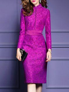 Shop Midi Dresses - Fuchsia Sheath Elegant Stand Collar Midi Dress online. Discover unique designers fashion at StyleWe.com.
