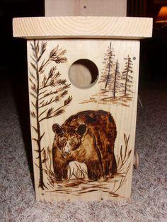 Birdhouse with Woodburned Walking Bear by WoodburnedBirdhouse, $24.00