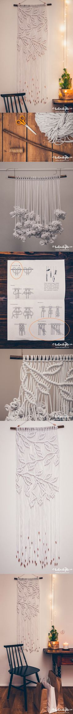 DIY macrame wall hanging with branch pattern tutorial. Only one knot type used! Copper tape at the ends of the yarn. This is smaller training version of my asymmetrical macrame kitchen curtain. Original blog post & instructions: http://www.helmihytti.fi/2016/12/adventtiluukku-diy-macrame-arvonta.html Handmade Makrame Wall Hanging Project Easy knots Boho home decor Bohemian decoration