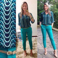 Look de trabalho - calça verde