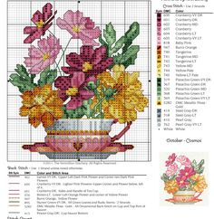 #10 October Teacup, Cosmos Free Cross Stitch Pattern