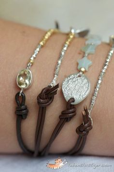 Boho Bracelet with Geometric Sterling Silver Figure and Leather Cord