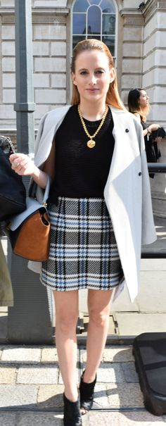 Celebrity spot #1 of the day: Made in Chelsea's Rosie Fortescue looking super stylish in a coat and mini skirt combo| London Fashion Week #LFW | Mint Velvet