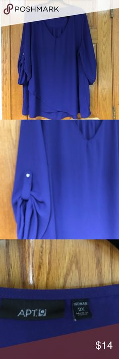 Apt. 9 Women's size 2X 3/4 blouse Gently worn a few times, very flowy blouse in great condition. Color is a deep blue, 3/4 sleeves with v-neck. Apt. 9 Tops Blouses