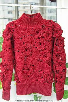 I wish I could find a sweater like this! Crochet Bolero, Crochet Poncho Patterns, Freeform Crochet, Crochet Cardigan, Knit Or Crochet, Irish Crochet, Beautiful Crochet, Crochet Clothes, Pulls