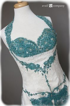Teal Lace  Vintage Style Wedding Dress  One of a Kind  by AvailCo