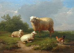 Eugène Joseph Verboeckhoven  Landscape with Sheep and Lambs  1874
