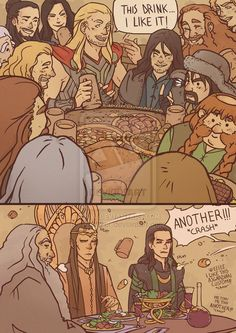 Thor-The Hobbit: a bunch of unexpected guests by Kibbitzer>>>This fan art, I like it...ANOTHER!!: