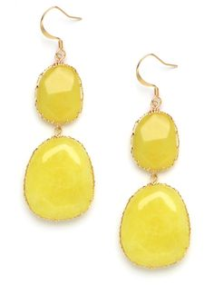 Add a dash of color to prints and solids with stones in a bright chartreuse . Set in an intricate gold-tone base, these drops are equal parts feminine and earthy.  Please note that these stones are semi-precious so no two pairs are identical, and small differences in color are expected.   BB Spotting: As Seen In Aquamarine In The  InStyle Makeover Edition