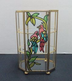 Vintage Brass Glass Stained Glass Parrots Footed Octagon Curio Display Case