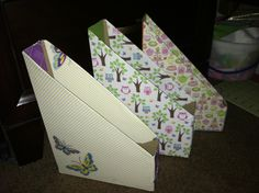 Cereal box into file organizer & cover with wrapping or scrapbook paper