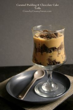 salted caramel pudding + chocolate cake trifle