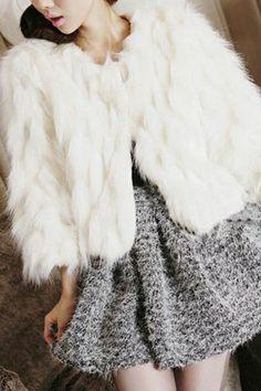 { Crop Faux Fur Jacket }