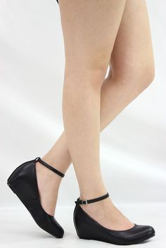 BLK CLOSED TOE ANKLE STRAP LOW WEDGE HEEL WOMEN BALLET FLAT BALLERINA SHOES SZ 8 #Other #PlatformsWedges  22.95+ 9.99 shipping