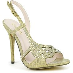 Celeste 'Wendy-09' Embellished Open-toe Dress Sandals ($27) ❤ liked on Polyvore featuring shoes, sandals, gold, glitter sandals, evening shoes, dress pump, black embellished sandals and ankle tie sandals