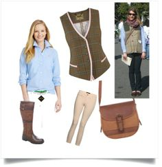 #PinYourDubes14 for Rolex Kentucky #rk3de14 - Dubes, cream skinny jeans/jodhpurs, blue Oxford shirt, Dubarry tweed vest and Dubarry Saddle Bag - half of the outfit here at a Garden Tour at the White House!