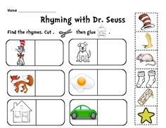 A fun and quick Rhyming with Dr. Seuss cut and paste activity.  Use as a whole class or in a center.  Rhyming worksheet, rhyming lesson plan, D...