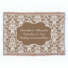Sandy brown print background. Add your names, wedding date, location and other special memories to this one of a kind cherished keepsake blanket. Great home decor gift for the newlyweds, or as an anniversary gift. Elegant damask pattern background. Beautiful, woven all-season throw blanket designed for the couch or relaxing to keep warm at night . Made with wicking technology, poly/cotton blend for eco-friendly, fast drying, less static, long life. Incorporate a unique stylish home décor ...