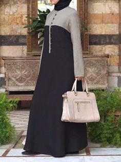 Bi-Color Maxi Dress - Maxi Dresses - Women Abaya Fashion, Muslim Fashion, Modest Fashion, Fashion Outfits, Womens Fashion, Mode Abaya, Mode Hijab, Hijab Style Dress, Abaya Designs