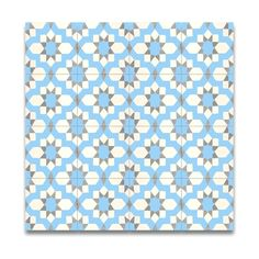 Pack of 12 Affos Blue and Grey Handmade Cement and Granite 8x8 Floor and Wall Tiles , Handmade in Morocco