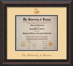 University Of Kansas Diploma Frame Mahogany Braid W Ku Embossed Seal