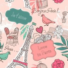 Vector of 'paris, wallpaper, cartoon'