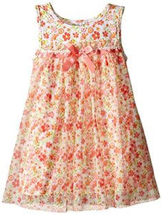 Bonnie Jean Girls Toddler Girls Ditzy Floral Float with Mesh Overlay Dress Coral 4T *** You can find more details by visiting the image link.