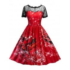SHARE & Get it FREE | Vintage Printed Lace Insert Christmas Pin Up DressFor Fashion Lovers only:80,000+ Items·FREE SHIPPING Join Dresslily: Get YOUR $50 NOW!
