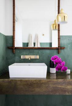 The Summer Residence — Chelsea Hing Bad Inspiration, Bathroom Inspiration, Bathroom Ideas, Black And White Backsplash, Bathroom Pendant Lighting, Green Wall Decor, The Design Files, Bathroom Interior, Decoration