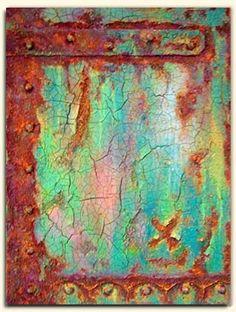 """Metal Door #1  18 x 24 in  Acrylic mixed media, Susan Derrick, """"Corrosion"""" series  rusted, painted metal door"""