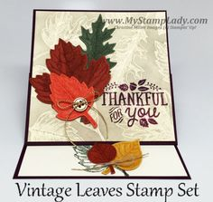 Vintage Leaves Easel Card Stampin' Up! fall Handmade Card. Stamping technique: Emboss with a twist. www.mystamplady.com