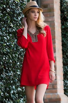 """The Laramie Beaded Tunic Dress is casual & cute!  This bright green tunic dress is embellished with an assortment of beads along the neckline.  Style with a pair of wedges & teardrop earrings for the perfect look.  <br><br>    -34"""" length from shoulder to hem <br>  -42"""" chest<br>  -50"""" sweep<br>  -Measured from a size small<br><br>  -100% Cotton <br>  -Machine Wash <br>  -Imported <br>"""