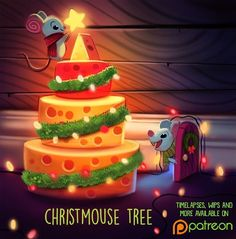 Daily Painting 1491. Christmouse Tree #illustration by Piper Thibodeau