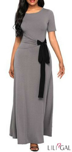 Grey Short Sleeve Bowknot Detail Maxi Dress #liligal #dresses #womenswear #womensfashion