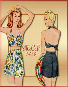 McCall 5648 Vintage 1940s Bathing Suit by FloradoraPresents