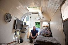 Bachelor pad: Mr Doyle from Bath bought the houseboat Murdoch (pictured) around two years ago on the internet. He spent a year transforming ...
