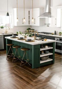 There is no question that designing a new kitchen layout for a large kitchen is much easier than for a small kitchen. A large kitchen provides a designer with adequate space to incorporate many convenient kitchen accessories such as wall ovens, raised. Kitchen Ikea, Home Decor Kitchen, Kitchen Dining, Green Kitchen Island, Kitchen Islands, Kitchen Hacks, 10x10 Kitchen, Light Green Kitchen, Kitchen Sink